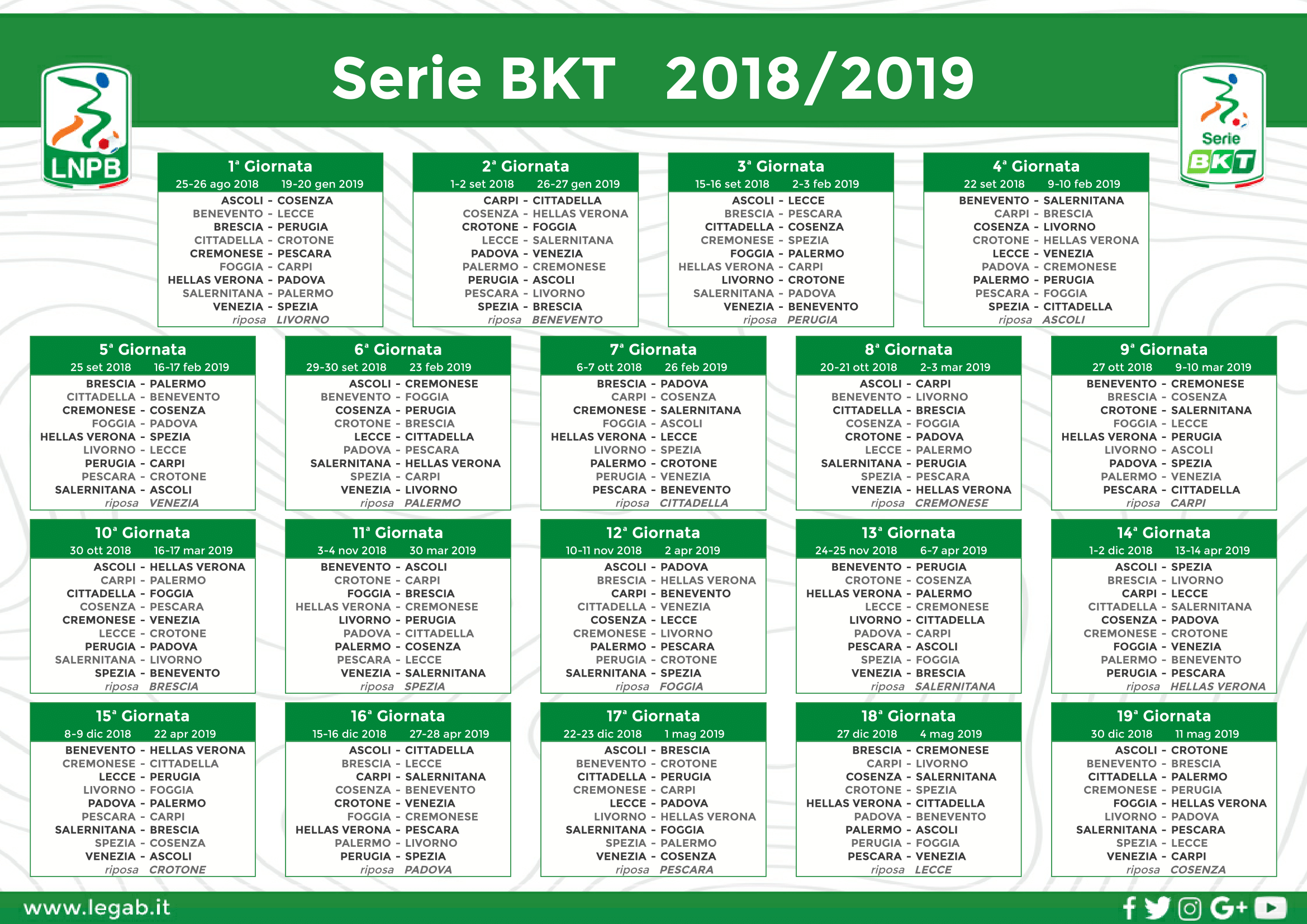 Calendario 15 Giornata Serie A.Serie B Varato Il Calendario Si Parte In Trasferta Con Il